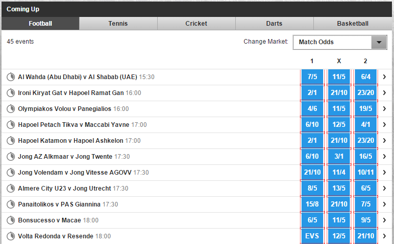 betfair in-play schedule