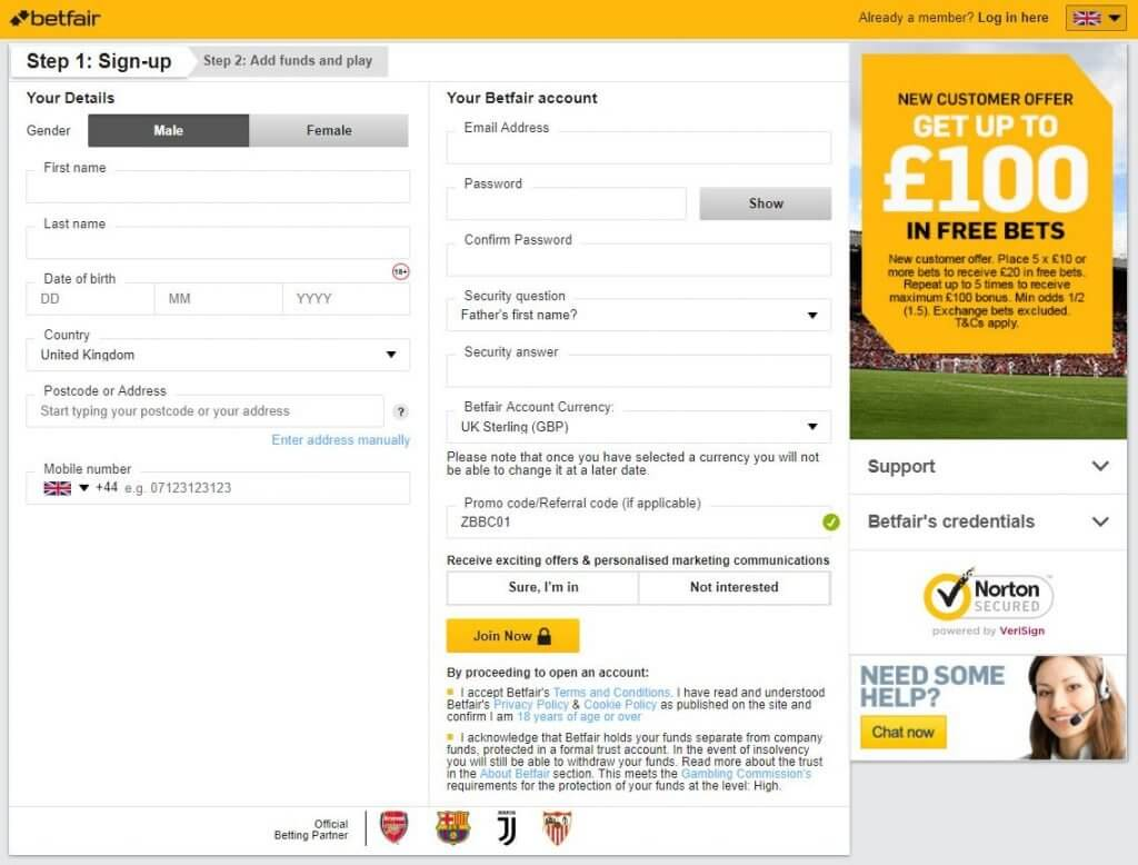 Register at Betfair