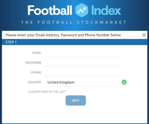 Football Index Registration