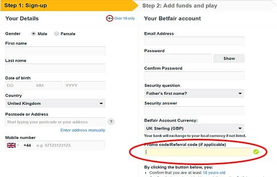 how to sign up on betfair with a code