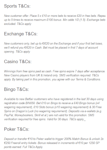 Betfair T&C offer